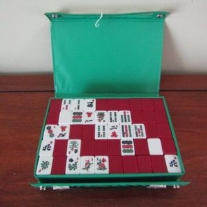Vintage MahJong tiles and Fujiana tile racks